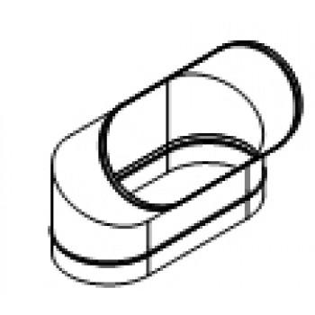 Колено овальное 45° изгиб по длинной стороне