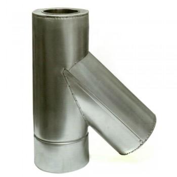 Ø100/200 Тройник 45* к/к  нержавеющая AISI 304 сталь